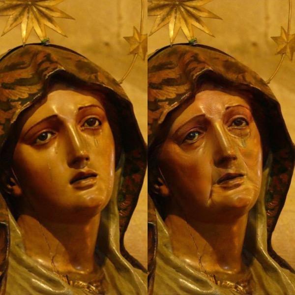 Zwei Bilder. Eines zeigt eine Madonnenstatue. Das andere die künstlich gealterte Madonna mit Falten