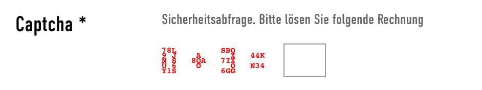 Screenshot eines Captchas: Rechnung 0+3= wobei die Zahlen und Zeichen selbst aus Buchstaben und Zahlen geformt sind
