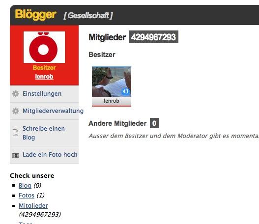 Ausschnitt aus Netlog. In der Gruppe Blogger werden 4.294.967.293 Mitglieder angezeigt