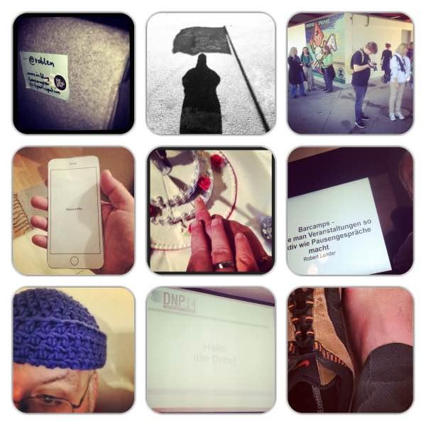 Collage mit mehreren Fotos: Tasche, Flagge, FotografInnen, Papier-Smartphone, Hochzeitstorte, Barcamp-Schild, Blaue Haube, Präsentationsfolien, nackte Fuß neben Schuh