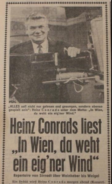 Artikel mit Foto von Hein Conrads hinter eine TV-Kamera.