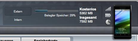 Screenshot Anzeige externer Speicher