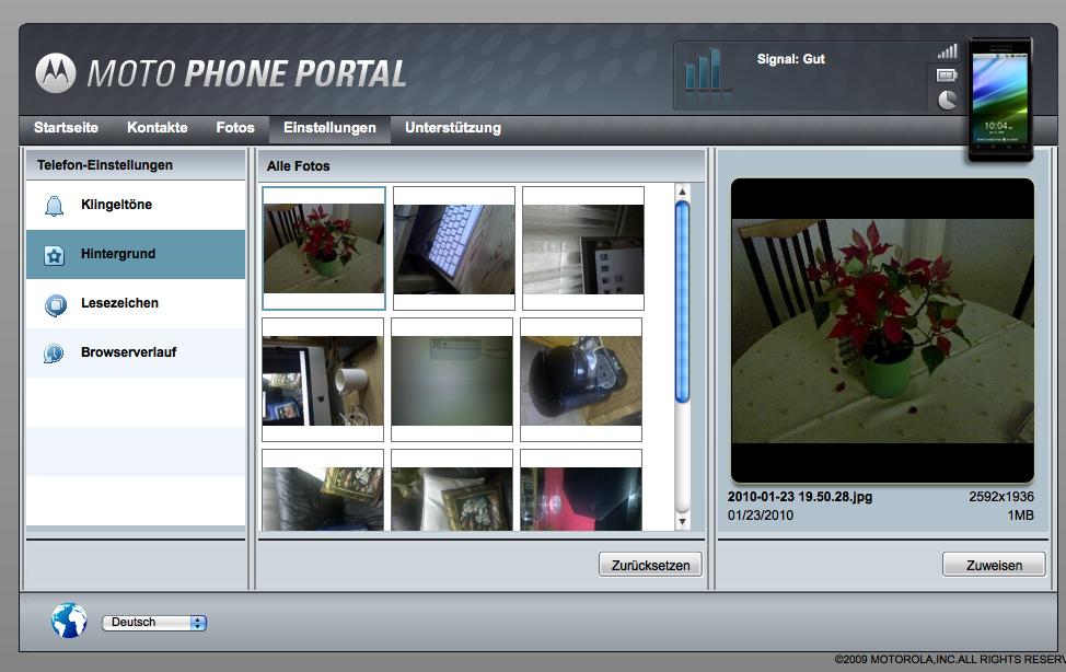 Screenshot Hintergrundverwaltung