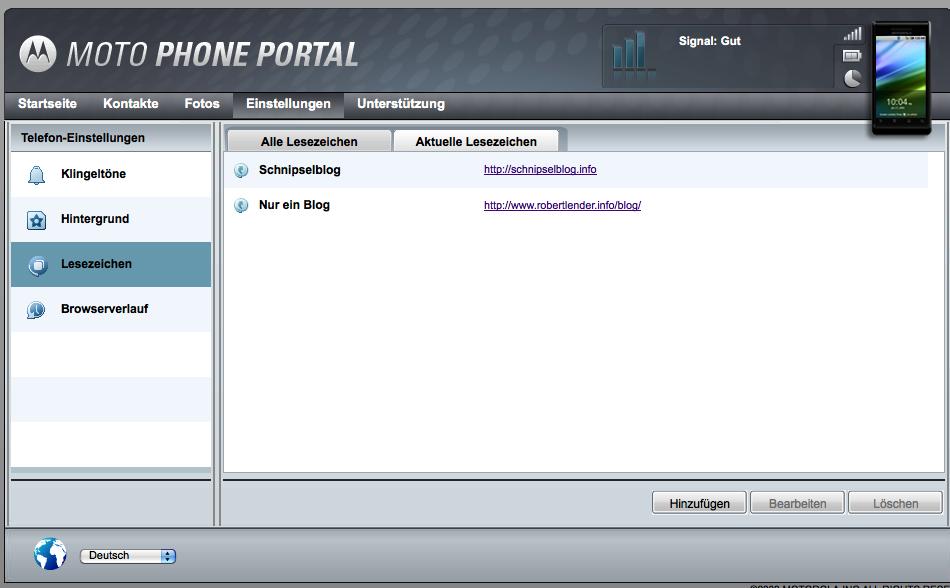 Screenshot Lesezeichen Verwaltung