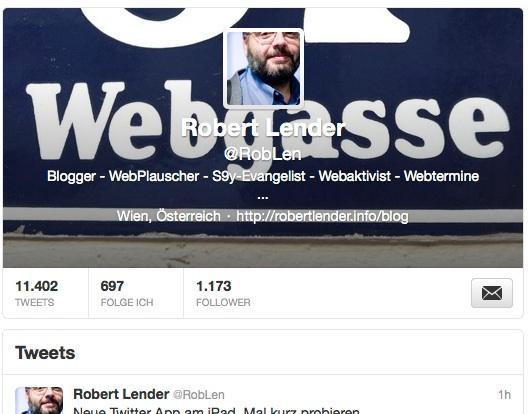 Header des Profils von Robert Lender auf Twitter