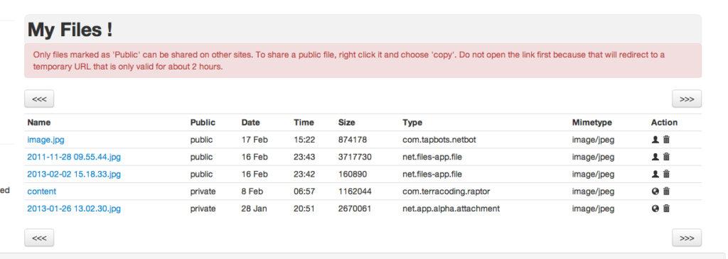 Screenshot Dateiverwaltung im app.net Filemanger