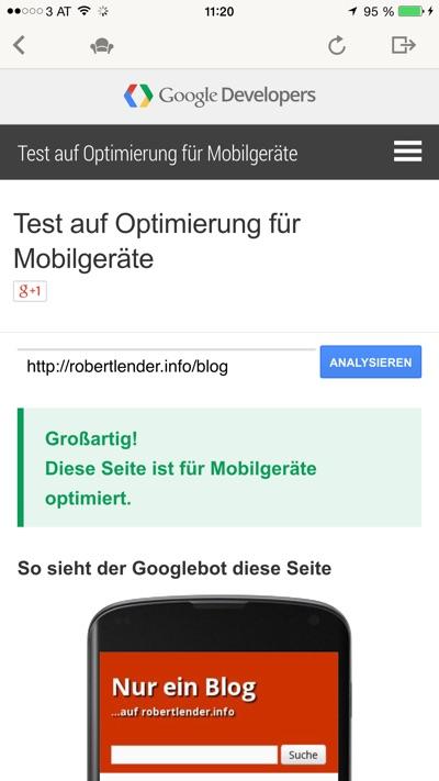 Screenshot Google Testtool. Ergebnis: Diese Seite ist für Mobilgeräte optimiert.